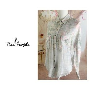Free People Tie Sheer Floral Button Down Blouse